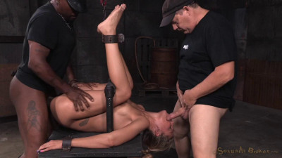 Stevie Smith - Tan blonde bound down in fuck me position and used hard by BBC (2015)