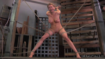 Wooden paddle across her tied off tits provides the pain