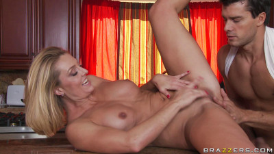 Blonde Milf Seduces A Guy In Her Kitchen