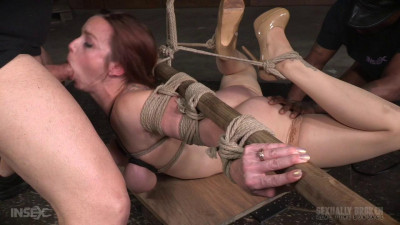 Flexible busty bound slut deepthroats in merciless bondage
