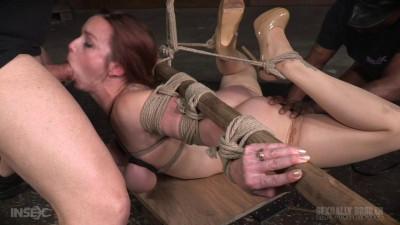 Flexible busty bound slut deepthroats in merciless bondage