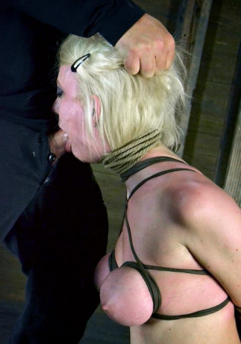 Cherry Torn - Hot blond with huge natural tits, suffers throat fucking and intense bondage
