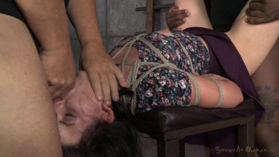Brunette newbie Amy Faye bound and fucked into subspace by big dick, gagging deepthroat on BBC!