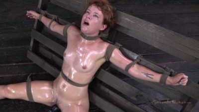 Pretty Redhead Claire Robbins Tied Down Vibrated And Throat Boarded Out Of Her Mind!