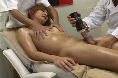 Beautiful Japanese Newhalf Mao Asagiri getting a full body massage.