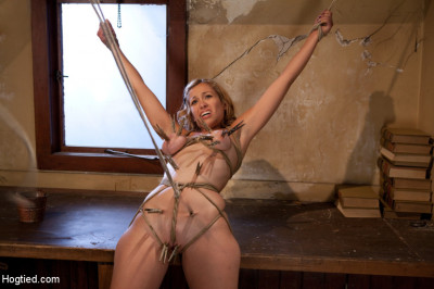 Hot Blond Has Clothespins Flogged Off Her Breasts, Fucked With A Stick, Vibrated And Made To Cum