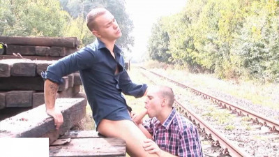 On staged rail gay floss - cum shots, large, tattoo...