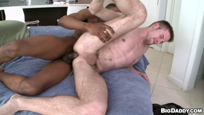 Skinny white guy has a big black dick