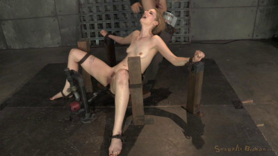 Pale Ela Darling firmly bound and throatboarded by hard cocks