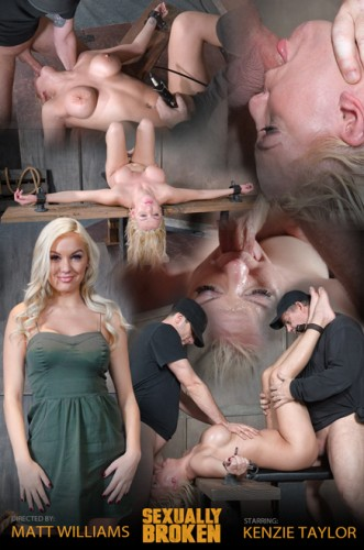 Blonde Bombshell Kenzie Taylor Is brutally face fucked upside down and roughly fucked in bondage!