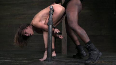 Amber Rayne assfucked by 2 big dicks while folded in half and restrained in strict metal bondage!