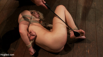 Hot blond's nipples are abuse, feet tickled, & pussy fucked with a stick, made to cum like a whore.