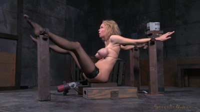 Description Big breasted blonde Rain DeGrey belted down on fucking machine with drooling deepthroat on BBC!