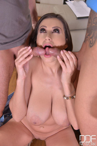 Sensual Jane - Curvy Brunette Milf Blows Two Big Boners (2016)
