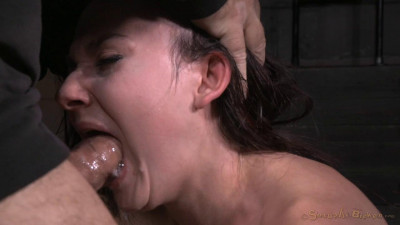 Faced Amy Faye bound on sybian