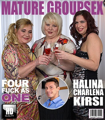 Halina K, Kirsi, Charlena — Four fuck as one HD 720p