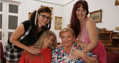Four old,experienced and young lesbians