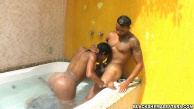 Hot Black Shemale Shower Sex (Black Shemale Stars)