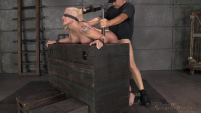 Tan busty blonde Leya Falcon bound and bent over, rough blindfolded sex and brutal deepthroat!