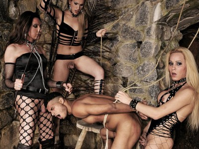 Horny Mistresses Devour a Submissive Guy