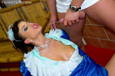 A Princess In Blue Outfit Is Drenched In Piss