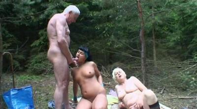 Description Foxy girl and her granny enjoy threesome.