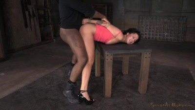 Bouond newbie Mia Austin roughly fucked in strict restraints with brutal messy deepthroat on BBC!