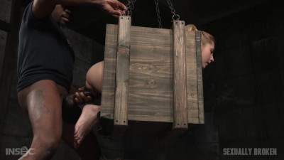 Odette Delacroix bound inside a box and roughly fucked