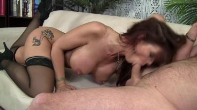 Hard fucking with busty redhead slut
