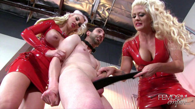Two Domina tickle the testicles guy whip