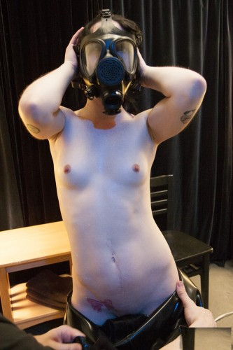 Heavy rubber, gas mask, breath restriction, and dildos