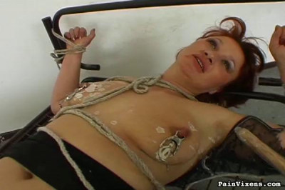 From the ceiling hang rope and chain and on the floor is my naked maid Eyleen with wet hair