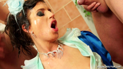 Hot Princess In Blue Outfit Is Drenched In Piss
