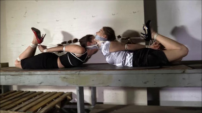 Bondage and hogtie for two young girls