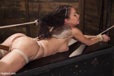 Big Tit Brunette Caught In Brutal Bondage.