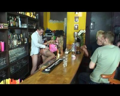 Late gangbang at a bar