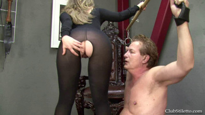 This scene opens up with Mistress Sasha standing on her chest in high heels