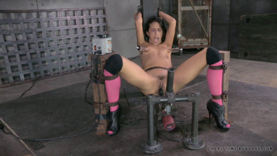 Hot Hispanic Lyla Storm gags on 10 inch BBC while bound to sex machine, epic deepthroat