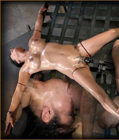 Deepthroat specialist Gaia restrained to bedframe vibrated while throatblasted on brutal deepthroat!