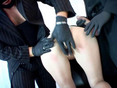 The black gloves two guys masturbating her pussy