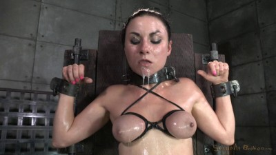 Pretty pale Veruca James gets shackled, throatboarded and totally destroyed by two big cocks!