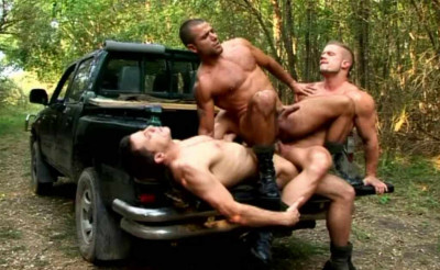 Muscular guys fucking outdoors