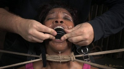 Eager Lotus Lain bound on sybian with drooling deepthroat on big dick, total sexual destruction