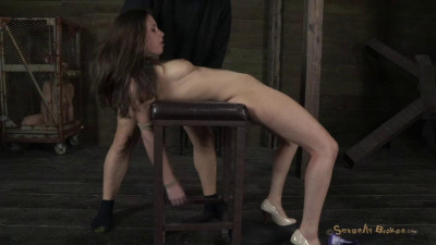 Cute little Casey Calvert gets bound, brutally skull fucked, made to cum and beg.
