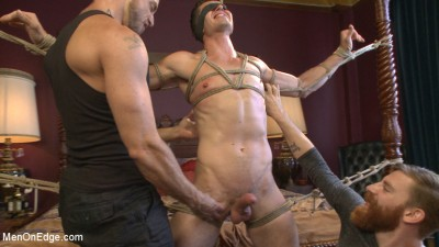 Greedy for edging: Tall hunk Logan Stone shoots a load in his own face