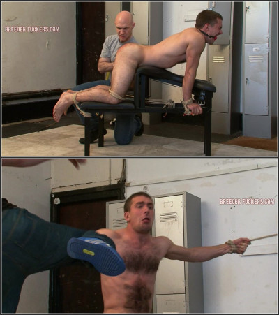 Guy13-l - Bound to a spanking bench, arse caning, jock strap cut off from him