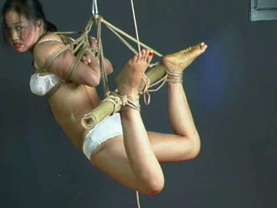 Topless, ballgagged, blindfolded, her hands tied up at her back