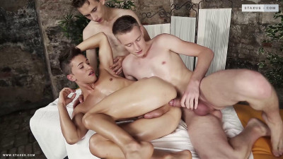 Two Cocks Shoved Up His Over-Massaged Hole