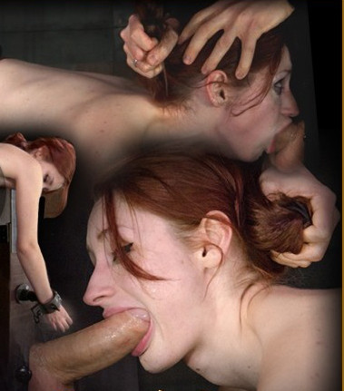 Redheaded Violet Monroe strictly shackled and utterly destroyed by hard cock! Brutal deepthroat!