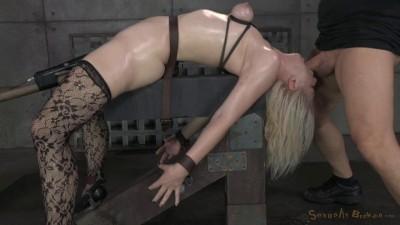 Beautiful blonde Ella Nova bound, dildoed and deepthroated! Cums hard on two cocks! (2014)